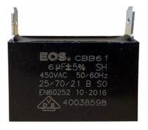 Capacitor 6 uf Mfd 450vac +- 5% Cbb61 Para Ventilação Ar Condicionado Marca EOS D10228 -