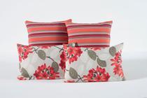 Capas Almofadas Para Decoração Sala e Sofa 4 Unidades com Ziper Branca e Rosa - Colleone Enxovais