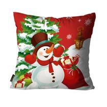 Capas para Almofada Premium Cetim Mdecore Natal Boneco de Neve Vermelha -