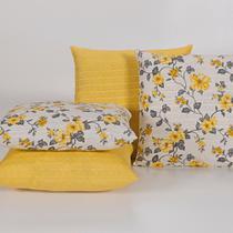 Capas para Almofadas Decorativas 4 Peças Amarelo - Guilherme Confecções