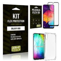 Capinha Anti Impacto + Película Flex 5D Samsung A50 - Armyshield -