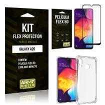 Capinha Anti Impacto Samsung A20 + Película Flex 5D - Armyshield -