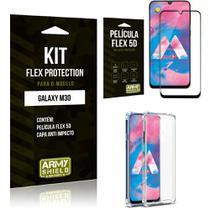 Capinha Anti Impacto Samsung M30 + Película Flex 5D - Armyshield -