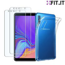 Capinha Capa Flexível Transparente Galaxy A7 2018 + 2 Películas Gel Básica - Encapar