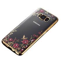 Capinha Silicone Cromada Flor Dourada Para Samsung S8 - Planeta Case
