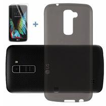 Capinha Silicone Premium Fumê Capa Ultra Fina para LG K10 + Película - Hrebos