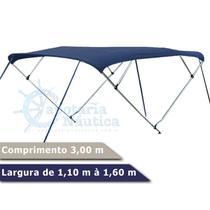 Capota Toldo Nautico 4 Arcos 3m Comprimento P/ Lanchas, Barcos de Aluminio e Botes - Capotaria Náutica