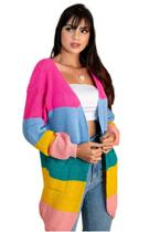 Cardigan Kimono Feminino Rainbow Colorido Blogueira Longo - Meimi