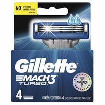 Carga aparelho de barbear gillette mach3 turbo - 4 cartuchos -
