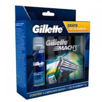 Carga barbear gillette mach3 sensitive c/4 grátis gel 71gr - Sem marca