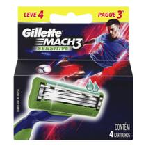 Carga barbear gillette mach3 sensitive l4p3 futebol unit - Gillette mach 3