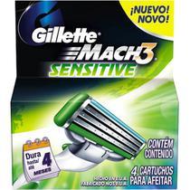 Carga gillette mach 3 sensitive - 4 unidades - Procter glambe