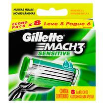 Carga Gillette Mach 3 Sensitive - 8 Unidades
