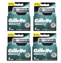 Carga Gillette Mach3 Regular Com 4x4= 16 Cartuchos -