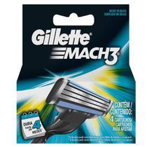 Carga Gillette Mach3 Regular Para Barbear - 4 Cartuchos -