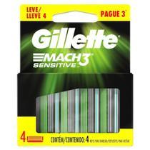 Carga Gillette Mach3 Sensetive Embalagem com 4 Unidades - Gillette Mach 3