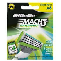 Carga Gillette Mach3 Sensitive - 6 Cartuchos -