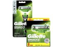 Carga Gillette Mach3 Sensitive - 8 Unidades + Aparelho de Barbear