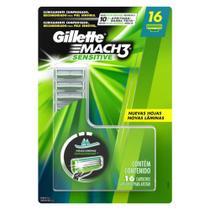 Carga Gillette Mach3 Sensitive com 16 unidades -