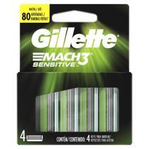 Carga Gillette Mach3 Sensitive com 4 unidades -