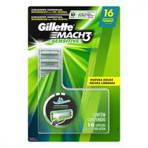 Carga para Aparelho de Barbear Gillette Mach 3 Sensitive para Peles Sensíveis 16 Unidades -