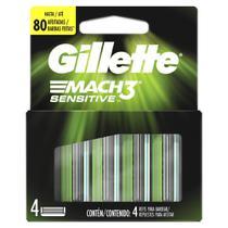 Carga para Aparelho de Barbear Gillette Mach3 Sensitive 4 Unidades - Mach 3
