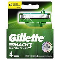 Carga para aparelho de barbear gillette mach3 sensitive 4 unidades -