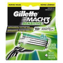 Carga para Aparelho de Barbear Gillette Mach3 Sensitive - 4 unidades -