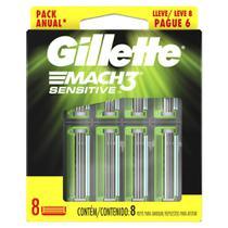 Carga para Aparelho de Barbear Gillette Mach3 Sensitive Leve 8 Pague 6 - Mach 3