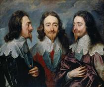 Carlos I em Três Posições - Anthony van Dyck - 75x88 - Tela Canvas Para Quadro - Santhatela