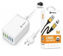 Carregador 6 Entradas USB + Cabo Magnético Sumexr Para Celular Samsung j3 j4 j5 j7 -