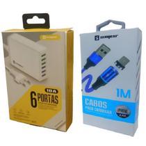Carregador 6 Entradas Usb Original Rápido + Cabo Magnético P/ I Phone i6 i6s i6 Plus - Sumexr