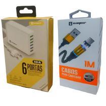 Carregador 6 Portas Usb Original Rápido Universal + Cabo Magnético Lg, Motorola, Samsung Asus - Sumexr