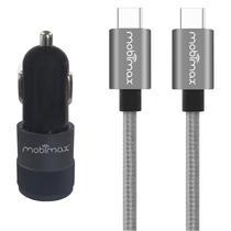 Carregador Automotivo entradas USB-C/USB +cabo USB-C Mobimax -