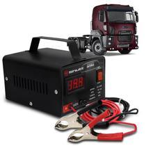 Carregador Bateria Automotivo Para Caminhão Shutt Bivolt 12V 10A 120W Com Voltímetro Digital -