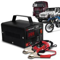 Carregador Bateria Automotivo Shutt Bivolt 12V 10A 120W Com Voltímetro Auxiliar Partida Preto -