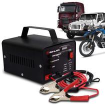 Carregador Bateria Automotivo Shutt Bivolt 12V 5A 60W Com Led Indicador Auxiliar Partida Preto -
