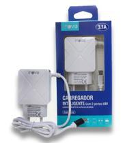 Carregador Celular Smartphone Turbo Cabo Padrão Micro USB V8 Android 2Usb 3.1a Inova -