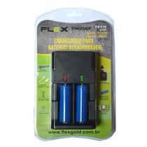 Carregador com 2 Baterias 18650 3,7v 3800mah Lanterna Tática  Micro USB FLEX FX C10 -
