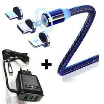 carregador completo turbo para iphone 6 6s 7 8 plus c/ cabo magnético - o melhor - Altomex