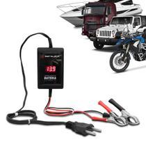 Carregador de Bateria Automotivo Shutt Bivolt 12V 2000mAh 24W Com Voltímetro Auxiliar Partida Preto -