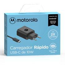 Carregador De Parede Motorola Turbo Power 10w - Com Cabo Usb-C - Preto -