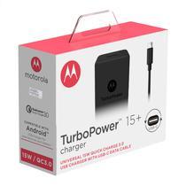 Carregador De Parede Motorola Turbo Power 15w - Com Cabo Usb-C - Preto -