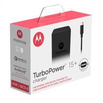Carregador de Parede Motorola Turbo Power 18W, 100-240V, com Cabo USB Tipo-C, Preto - Motomola