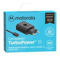 Carregador De Parede Motorola Turbo Power 18w - Com Cabo Micro Usb - Preto -
