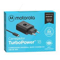 Carregador De Parede Motorola Turbo Power 18w Com Cabo Usb-C Preto -