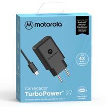 Carregador De Parede Motorola Turbo Power 27w - Com Cabo Usb-C - Preto -