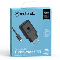 Carregador De Parede Motorola Turbo Power 30w Com Cabo Usb-C Preto -