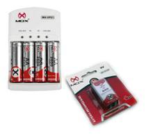 Carregador De Pilha + 4 Pilhas AA Recarregável 1 bateria 9V - Mox