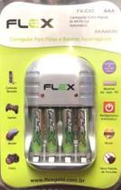 Carregador de Pilhas AA AAA 9V  Com 4 pilhas AAA Flex Fx-c03 -